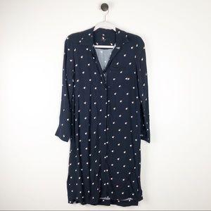 Ann Taylor V-Neck Long Sleeve Dress Polka Dot SP